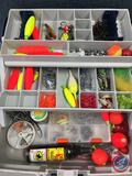 Plano plastic two tiered storage trays w/contents included - Lures of the various types, Hooks,
