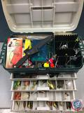 Plano plastic tackle system top cabinet and four drawers w/contents included - Lures of the various