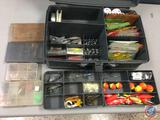 Plano plastic over and under storage trays w/contents included - Lures of the various types, Hooks,
