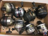 (8) Zebco fishing reels 733, 808, 888 (used)