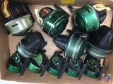 (11) Johnson fishing reels - Graphite Centrury 225, Century Model 100A, Sabra Model 130A, (used)