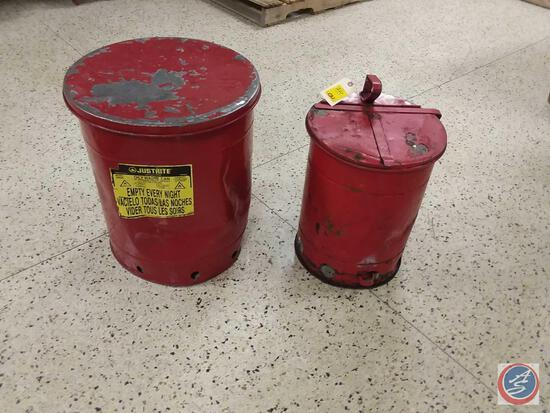(2) Justrite Oily Waste Cans
