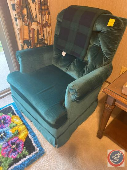 Upholstered Swiveling Rocking Chair, Latch Hook Rug, Green Plaid Throw Blanket
