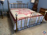 {{3X$BID}} Vintage Brass Bed and Nightstands Including Mattress Box Springs Headboard Footboard and