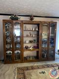 Three Piece Lighted Display Hutch w/ Glass Shelves: Each Piece Measuring 34'' x 16 1/2'' x 80 1/2''