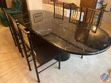 {{7X$BID}} Dining Room Table with 6 chairs and Leaf Photographed and Measured with Leaf In: Total