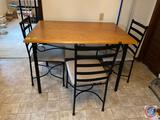 {{4X$BID}} Kitchen Table Measuring 45 1/2'' x 32'' x 30 1/2'' with 3 Chairs No Brand Visible {2