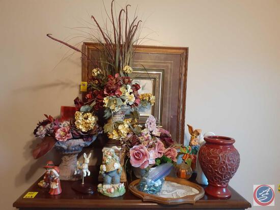 (2) Pilgrim Children Figurines, Framed Floral Print, Westland Easter Bunny Carousel Figuring and