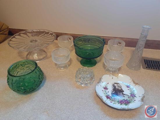 Original DeeBee Co. Imports Decorative Plate of Jesus, (2) E.O. Brody Company Green Glass Pieces,