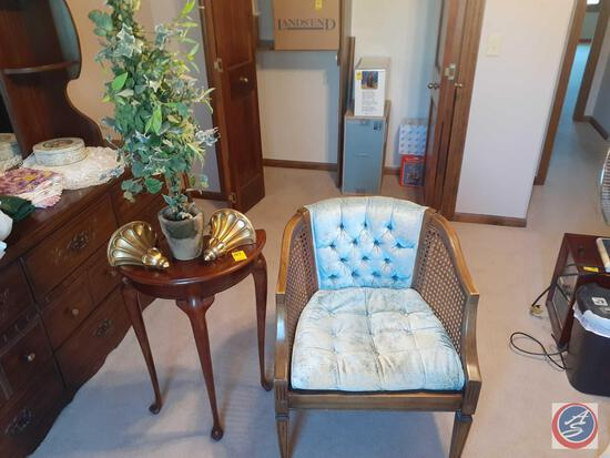 Vintage Chair with Blue Velvet Seat and Back with Cane Style Sides, Side Table, (2) Wall Sconces and