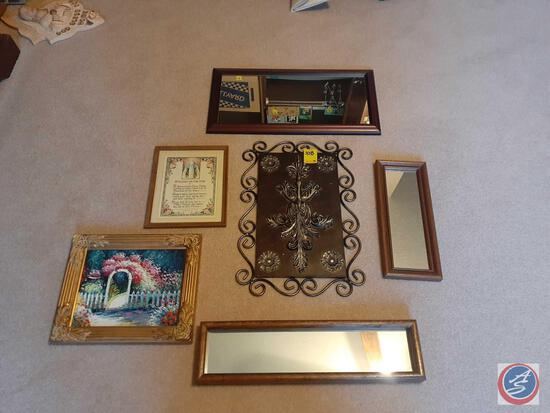 (4) Wall Hanging Mirror of Various Sizes, Small Framed Floral Painting, Hanging Wall Art and More