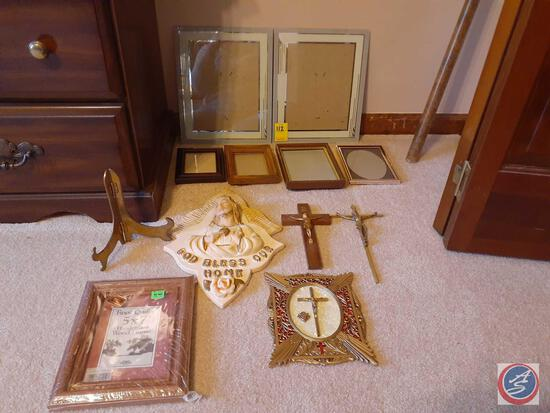 Ceramic God Bless Our Home Wall Hanging, (2) Crucifixes and Assorted Picture Frames