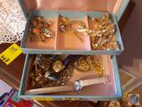 Jewelry Box Including Costume Jewelry, Timex Watch, Cameo Hat Pin, Necklaces, Bracelets and More