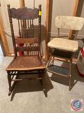 Antique Slat Back Rocking Chair w/ Kitchen Utility Step Stool