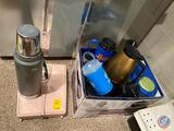 Aladdin Stanley Thermos, Bathroom Scale, Coffee Carafe, Assorted Coffee Mugs and Water Bottles