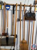 Assorted Long Handled Tools Including Snow Shovel, Push Broom, Long Handled Ax, Rake and More