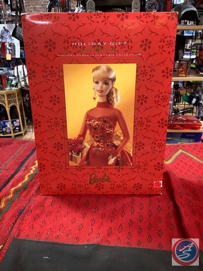 Holiday gift holiday porcelain Barbie collection new in box original price tag says $195