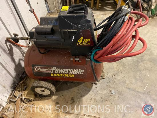 Power Mate Handyman Air Compressor Model Number VC40C110PID1G1 with Wall-Mounted Hose Reel and Hose