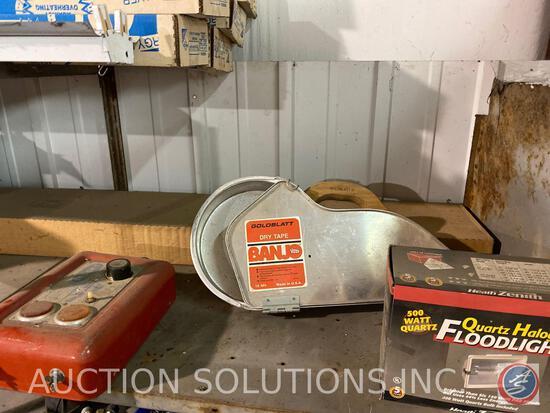 Quartz Halogen Floodlight in Original Box, Gold Blatt Dry Tape, Stokke Weed Control Model No. 360410