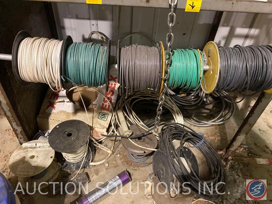 Assortment of Wiring on Spools and Conduit