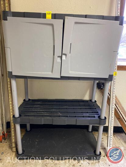 Rubbermaid Cabinet with Two Shelves Measuring 35 1/4'' X 19'' X 55''