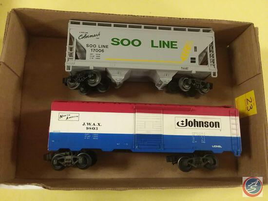 Replica Soo Line Colormark Car 17006 and Lionel Replica North American Johnson J.W.A.X 9803 Boxcar