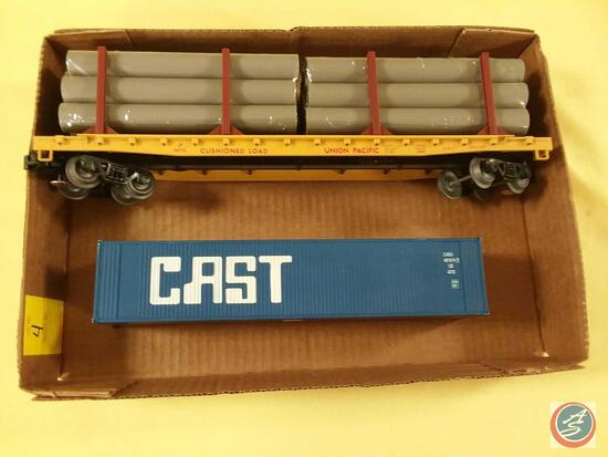 Replica Union Pacific Operating Log Car and Replica Boxcar Marked CAST {{Both O Scale}}