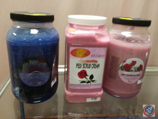 Container of Winter Ice Mineral Salt-Glow Scrub, Winter Ice Rose Pedicure Gel Scrub and SpaRedi