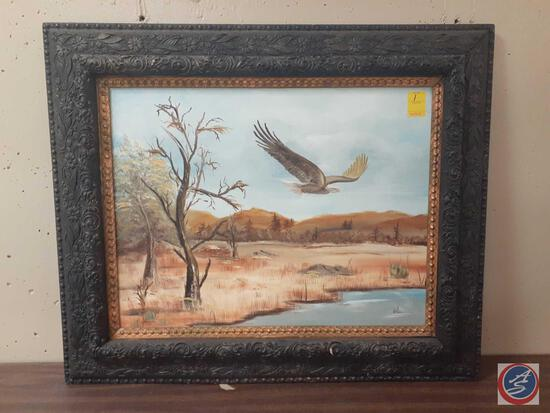 """Eagle Flying From Tree Painting Framed On Canvas Signed L. Naslund Measuring 22""""X 28"""""""