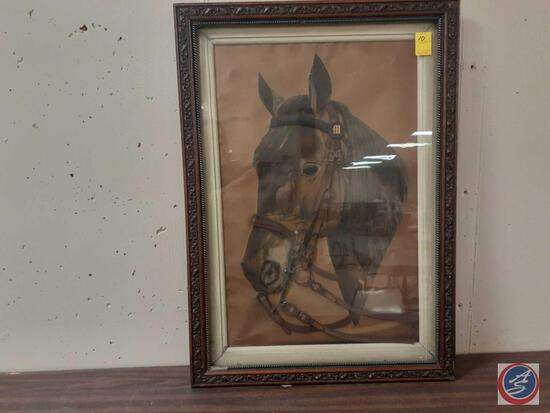 """Framed Horse In Real Leather Bridle Measuring 25""""X 35"""""""