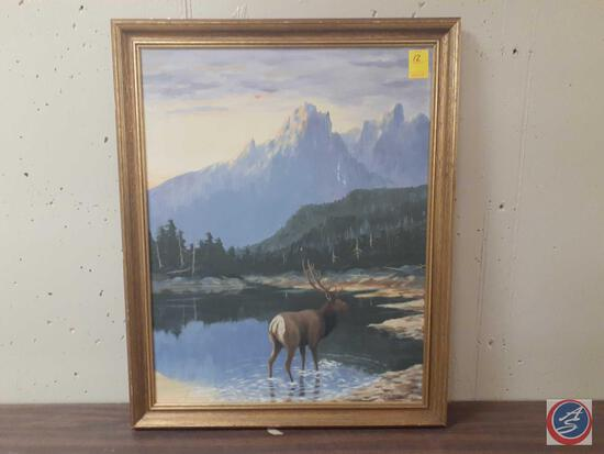 """Elk Standing In Water With Mountain Scape Framed Canvas Signed Miles L Maryott Measuring 32""""X 26"""""""