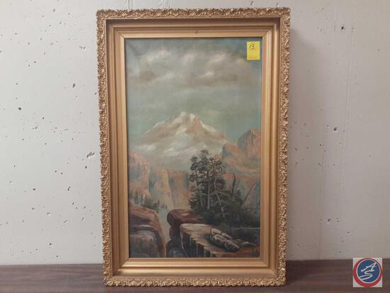 """Trees On A Cliff Framed Canvas Signed Miles L Maryott Measuring 21""""X 31"""""""