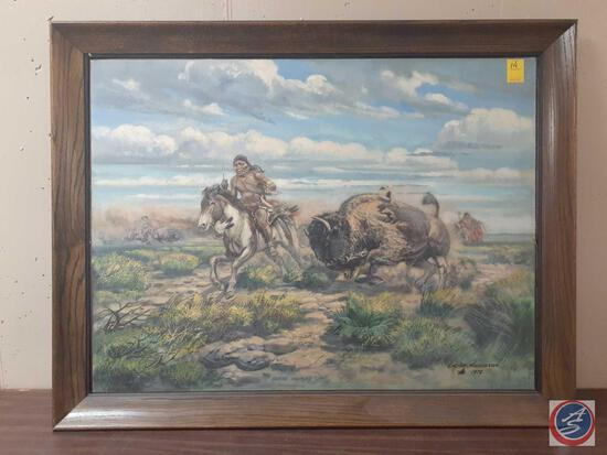"""Native American Hunting A Bison Framed Signed Carson Anderson Measuring 45""""X 35"""""""