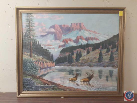 """Pair Of Elk In Water With Mountain Scape Framed Canvas Signed Miles L Maryott Measuring 46""""X 39"""""""
