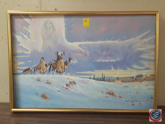 """Native Americans In The Winter Plains Framed Canvas Signed Daniel Lano Soldier Measuring 38""""X 26"""""""