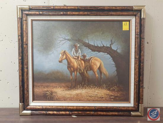 """Cowboys In The Woods Framed Canvas Signed James Gray Measuring 30""""X 26"""""""