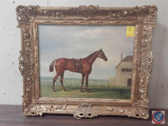 """Horse Standing On Farm Framed Painting On Canvas Signed Harrison Measuring 26""""X 22"""""""