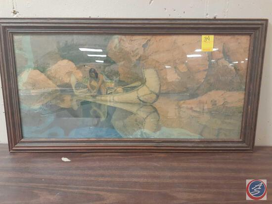 Native American In Canoe Framed Painting Signed Robert Wesley Aiviett