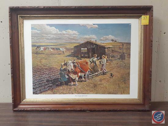 "New Land-Old Land Framed Print Signed John Falter Measuring 32""X 23"""