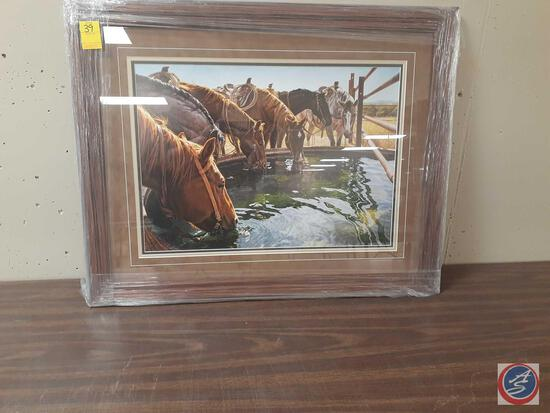 """""""A Well Earned Drink"""" Framed Print With Certificate Of Authenticity Signed Tim Cox Measuring 31""""X"""