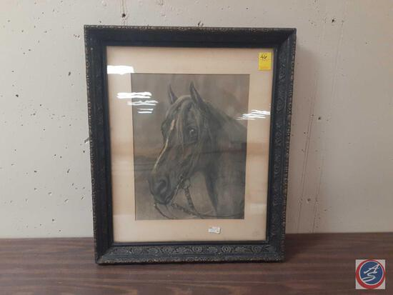 Statue of Horse Etching Signed Rosa Bonheir Measuring 24'' X 28''
