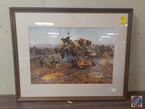 Framed Wild West Print by C.M. Russel 1912 Measuring 28'' X 22''