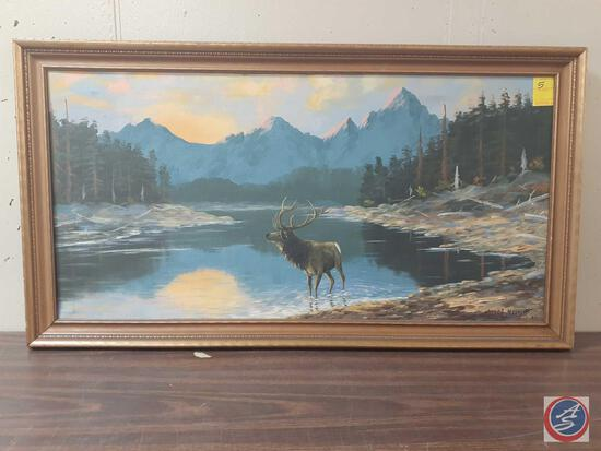 Elk Standing In Water With Mountains In Background Framed Painting On Canvas Signed Miles L Maryott