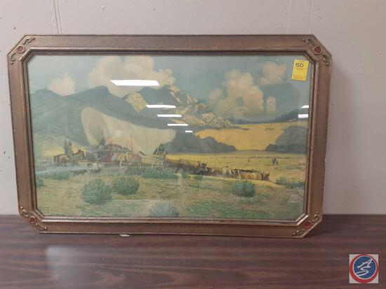 Framed Prairie Lithograph Signed Robert Wesley Aiviett Measuring 34'' X 22''