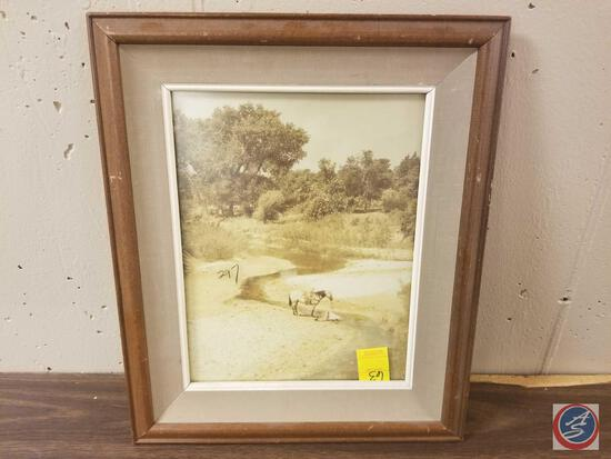 Framed Photograph of Man and Horse Measuring 16'' X 19''