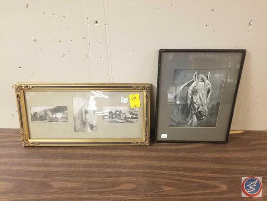 Framed Prairie Horses Artwork Measuring 13'' X 16'' and Framed Single Prairie Horse Artwork