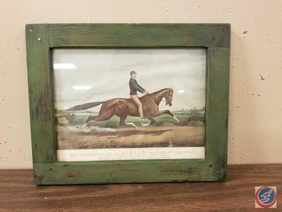 Currier and Ives The Celebrated Horse Dexter The King Of The Turf Framed Lithograph Measuring 15'' X