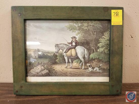 Currier and Ives Going To The Mill Framed Lithograph Measuring 15'' X 12''