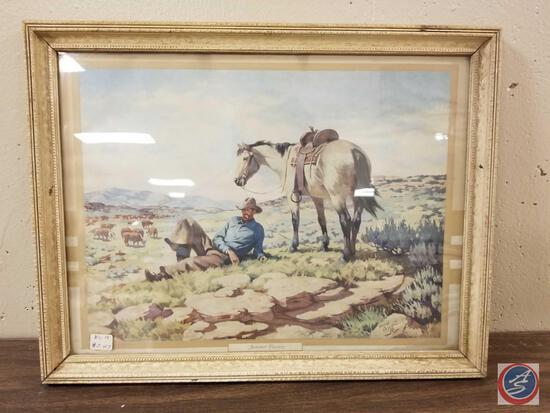 Framed Artwork Titled Summer Pasture Signed Harold Bryant Measuring 17 1/2'' X 13 1/2''