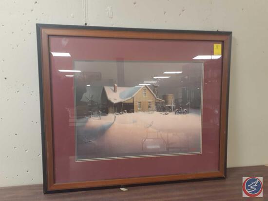 "Farmstead in Winter Sitting by Dalhart Windberg Framed Print Measuring 30""X 35"""